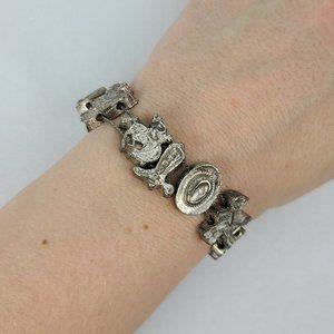 Cowboy Western Silver Tone Link Bracelet